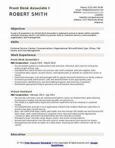front desk associate resume sles qwikresume