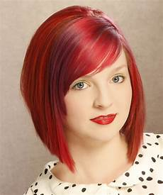 medium straight layered bright red bob haircut with side