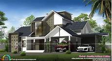 4 stylish homes with slanted 4 bedroom ultra modern sloping roof home design kerala