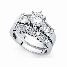 14k yellow or white gold cz bridal rings engagement