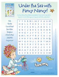 the sea with fancy printable word search fancy printable activities