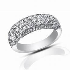 1 00 ct pave set round cut diamond wedding band ring