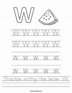 practice writing the letter w worksheet twisty noodle