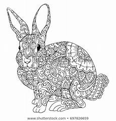 zentangle doodle patterned bunny isolated stock