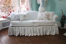 shabby chic sofa ruffle roses white by