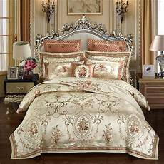 aliexpress com buy gold color luxury wedding royal bedding queen king size embroidery