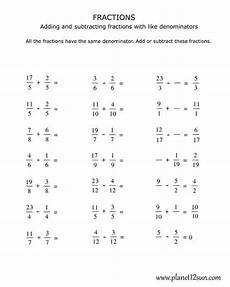 addition and subtraction of similar fractions worksheets for grade 4 9823 4th grade adding and subtracting fractions with the same denominator fractions worksheets