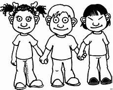 drei kinder halten haendchen ausmalbild malvorlage comics