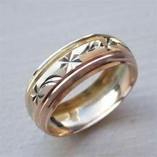 14k solid tricolor gold men 039 s 039 s wedding band