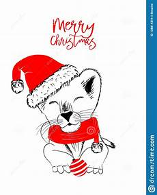 drawn monochrome vector illustration with a cute lion celebrating a merry christmas stock