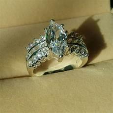 brand marquise cut topaz diamonique 925 silver filled wedding ring sz 5 11 gift ebay