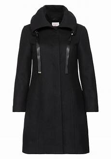 sheego damen mantel jacke schwarz black winter basic
