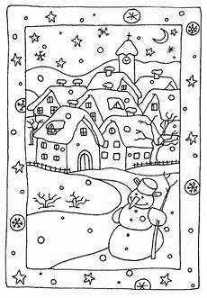 free winter coloring pages snowy houses coloring pages