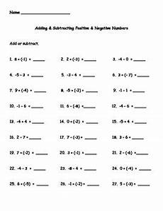 adding and subtracting negative numbers worksheet pdf