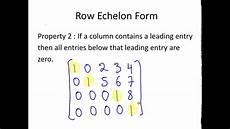 echelon form matrix row echelon form of a matrix youtube