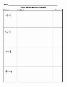 subtraction of mixed numbers with regrouping worksheets 10695 adding and subtracting mixed numbers with negatives and regrouping worksheet