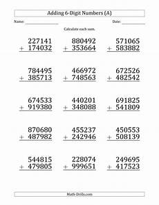 addition with regrouping worksheets 9700 large print 6 digit plus 6 digit addition with some regrouping a