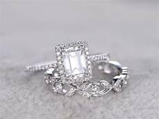 2pcs radiant cut moissanite engagement rings sets diamond