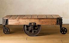 mill cart coffee table reclaimed factory cart table from restoration hardware