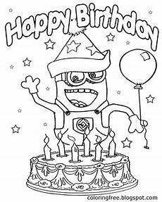 Malvorlagen Minions Happy Birthday Minion Birthday Coloring Pages Coloring Pages Allow