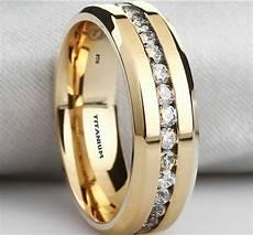 new boxed mens created diamonds titanium gold gp wedding engagement band ring ebay
