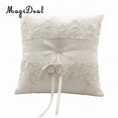magideal elegant beige floral lace ring pillow cushion ring bearer wedding party supplies in