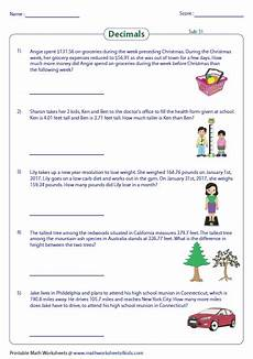 decimals word problems worksheets with answers 7534 decimal word problems worksheets