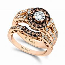lyst le vian chocolate and white diamond engagement ring in 14k rose gold 113 ct tw in brown