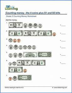 money worksheets change from 5 2100 grade 2 counting money worksheets coins plus 1 and 5 bills k5 learning