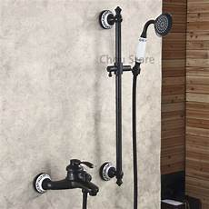 Rubbed Bronze Wall Mount Bathtub Faucet Set Mixer Taps