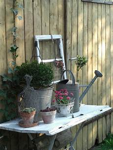 Gardening Table Boards Aged Clay Pots Vintage