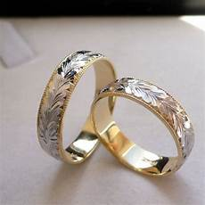 14k solid gold his two tone wedding band ring 5