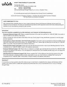 unum short term disability claim form unum short term disability claim form cl 1104 fill