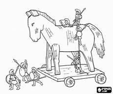 the trojan coloring page caballo de troya troya