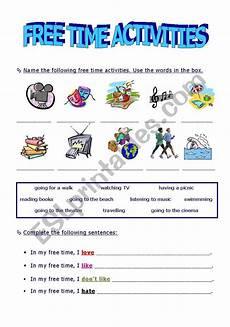 free time activities esl worksheet by xana machado