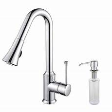 kraus pull out kitchen faucet kraus single lever mid arc pull out kitchen faucet and dispenser in chrome discontinued kpf 1650