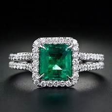 emerald diamond ring in 14k white gold from gemone