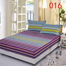 stripe polyester fitted sheet single double bed sheets
