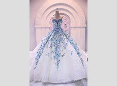 Romantic Big Ball Gown Wedding Dress Luxurious Blue Bride