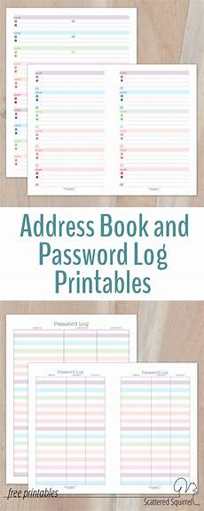 printable password card colourful address book and password log printables
