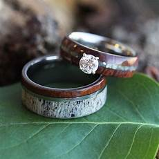 wedding ring rustic bridal in ironwood and