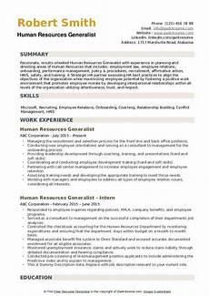 human resources generalist resume sles qwikresume