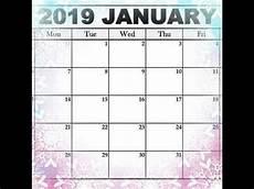 free printable january 2019 calendar youtube