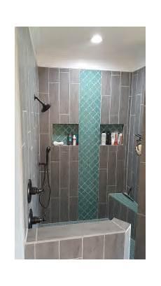 Bathroom Accent Tile Design Ideas teal arabesque tile accent teal shower floor grey wood