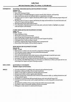 research development intern resume sles velvet