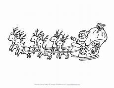 santa on a sleigh free colouring pages