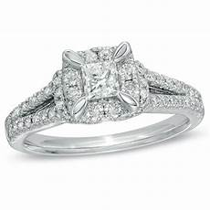 previously owned 1 ct t w princess cut diamond vintage style engagement ring in 14k white