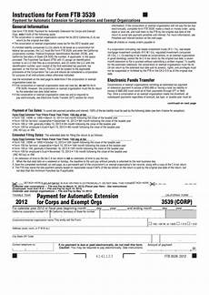 form 3539 california form 3539 corp payment for automatic extension for corps and exempt orgs 2012