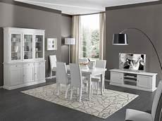 mobili credenza soggiorno in legno bianco con tavolo sedie mobile tv e