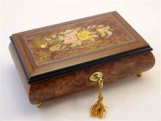 floral inlay matte finish musical jewelry box sorrento